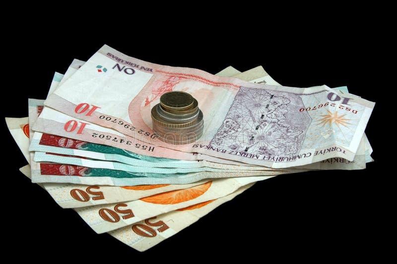 Turkse Lire - nota's en muntstukken stock afbeelding