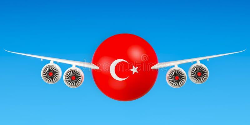 Turkse luchtvaartlijnen en het vliegen ` s, vluchten aan het concept van Turkije 3d ren vector illustratie