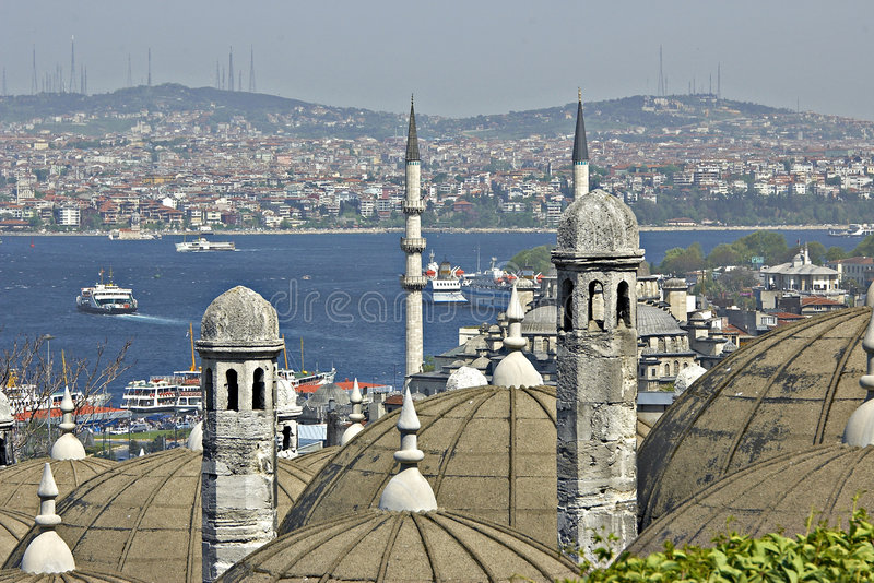 Turkse mening over Bosporus. stock foto
