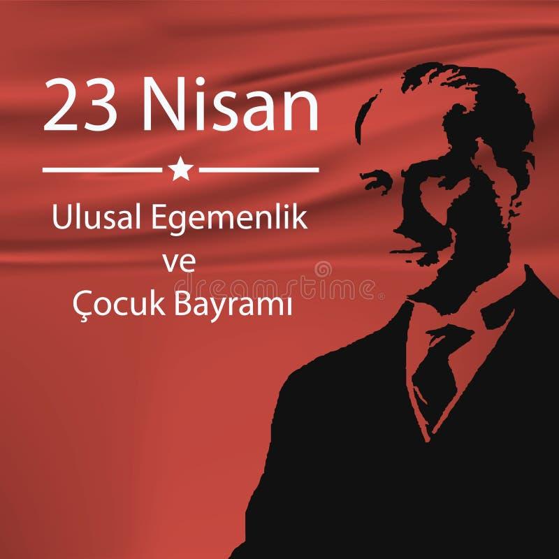 Turkse Nationale nationale soevereiniteit en kinderen` s vakantie stock illustratie