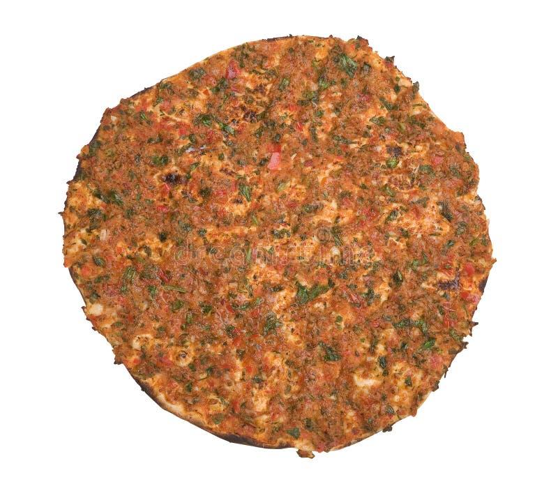Turkse pizza, lahmacun, op witte achtergrond stock afbeelding