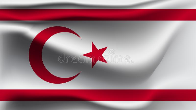 Turkse Republiek van de Noordelijke vlag die van Cyprus met de de golfvlag van de wind 3D illustratie golven royalty-vrije illustratie
