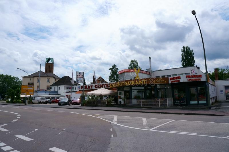 Turkse restaurants en winkels Hanau stock foto