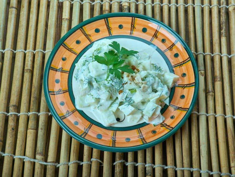 Turkse salade met courgette en yoghurt stock afbeelding