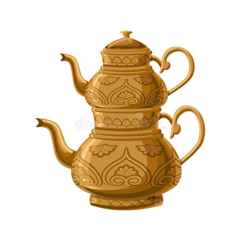 Turkse traditionele antiquiteit verfraaide kopertheepot stock illustratie
