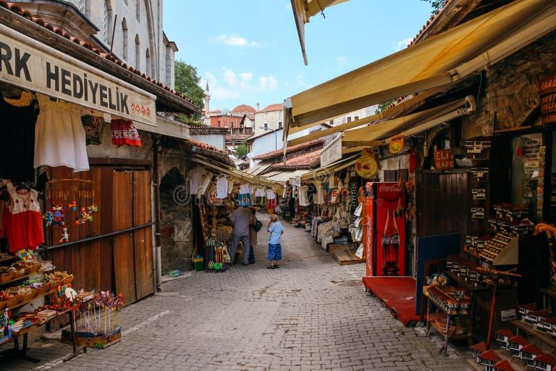 Turkse traditionele oude markt in Safranbolu, Turkije stock afbeelding