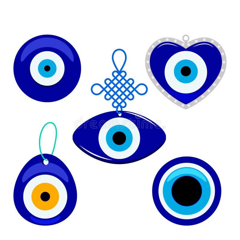 Turkse traditionele reeks van blauwe glazige boncukmascotte Symbool van kwaad oog dat op witte achtergrond wordt geïsoleerd Vlakk royalty-vrije illustratie