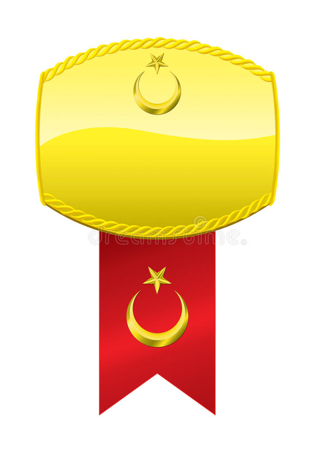 Turkse Vlag en Gouden Medaille stock illustratie