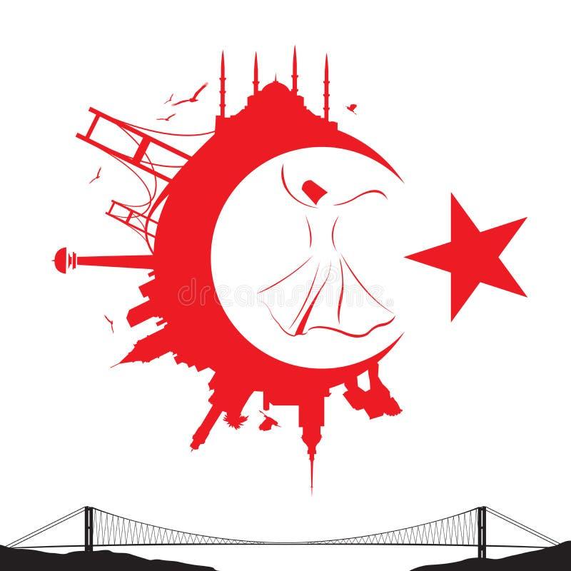 Turkse vlag en silhouetoriëntatiepunten stock illustratie