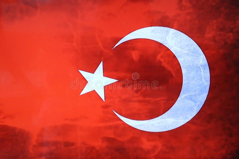 Turkse vlag Turkse rode vlag met witte ster en maan Nationale vlag van Turkije royalty-vrije stock foto