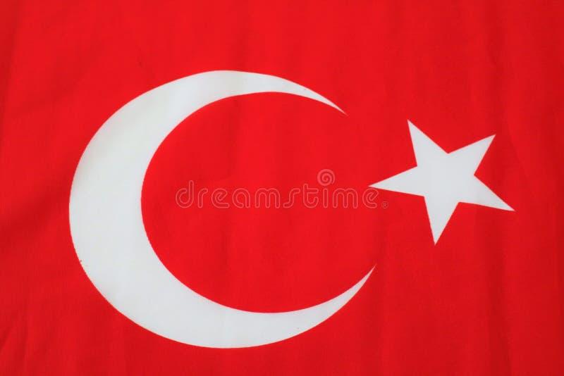 Turkse vlag Turkse rode vlag met witte ster en maan Nationale vlag van Turkije royalty-vrije stock afbeeldingen
