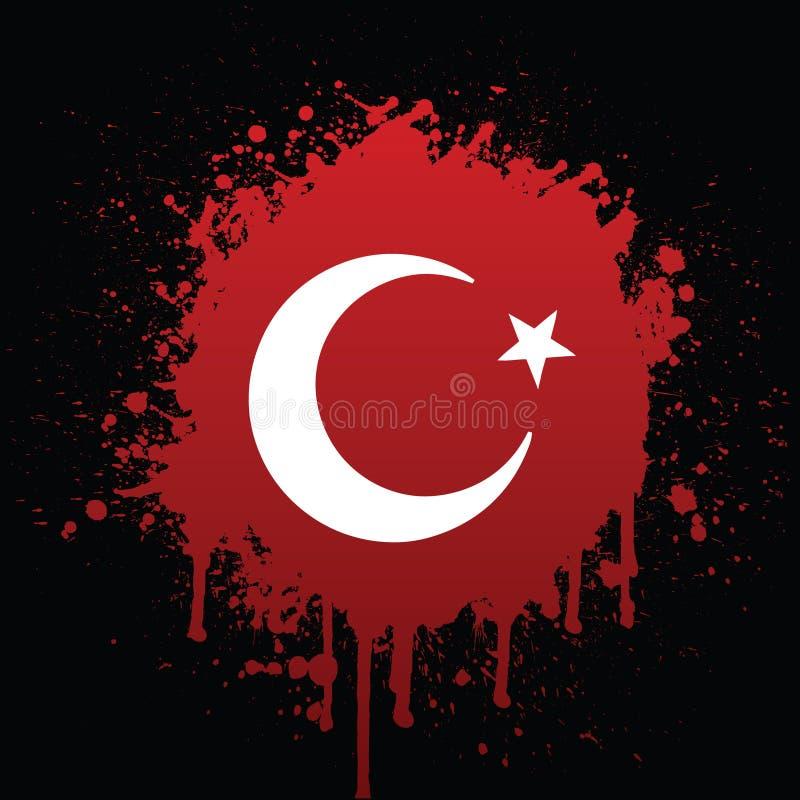 Turkse Vlag in Rode Spat stock illustratie