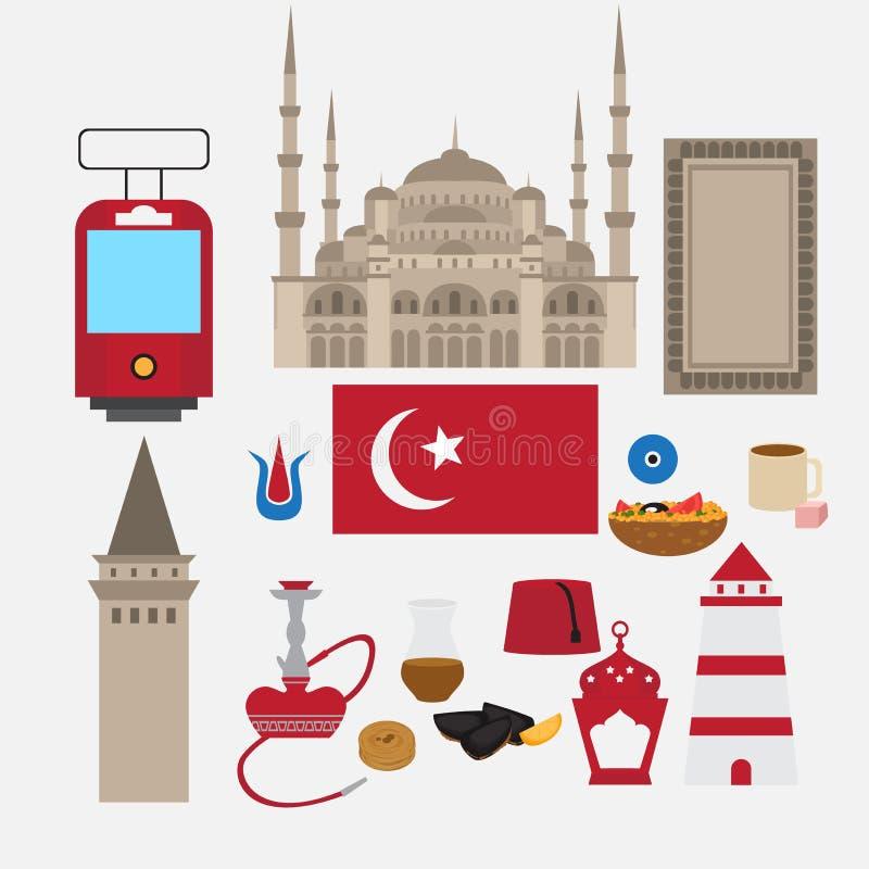 Turkse vlakke vastgestelde ontwerpelementen, oriëntatiepunt van Istanboel, Turkije Symbolen, architectuur en voedsel stock illustratie