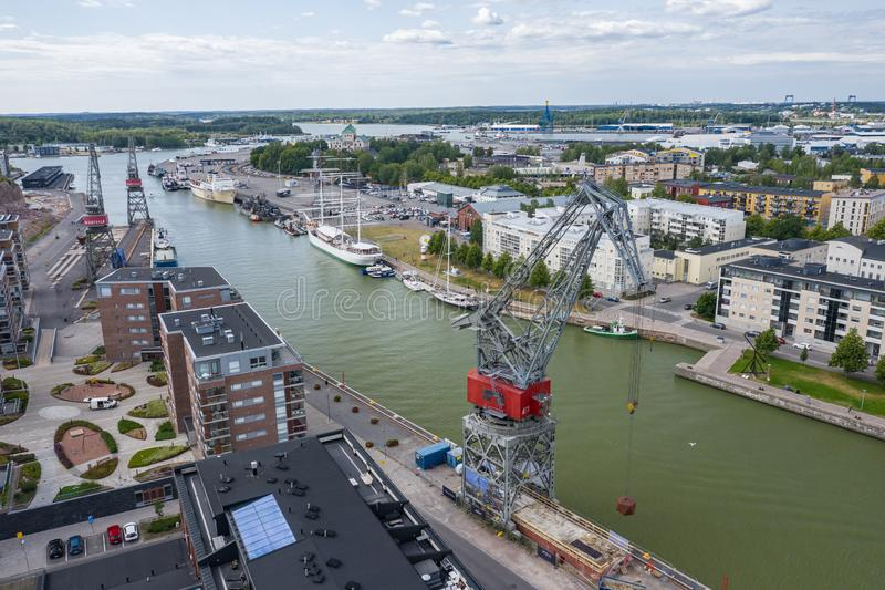 TURKU, FINLAND - AUGUST 02,2019: Aerial view of city of Turku. Photo made by drone from above. Finland. Europe royalty free stock photos