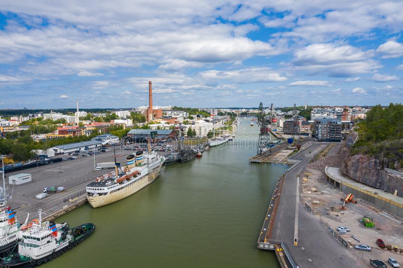 TURKU, FINLAND - AUGUST 02,2019: Aerial view of city of Turku. Photo made by drone from above. Finland. Europe stock photo