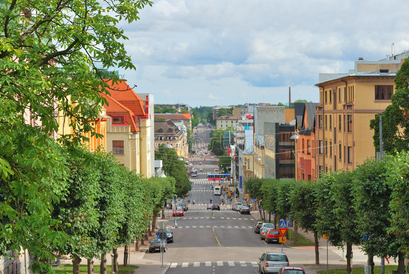 Turku, Finland. Finland. Cozy street in Turku in a sunny summer day stock images