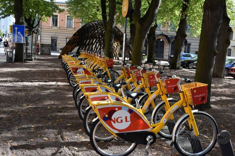 Turku Finland wynajem jechać na rowerze w centre miasto obrazy stock
