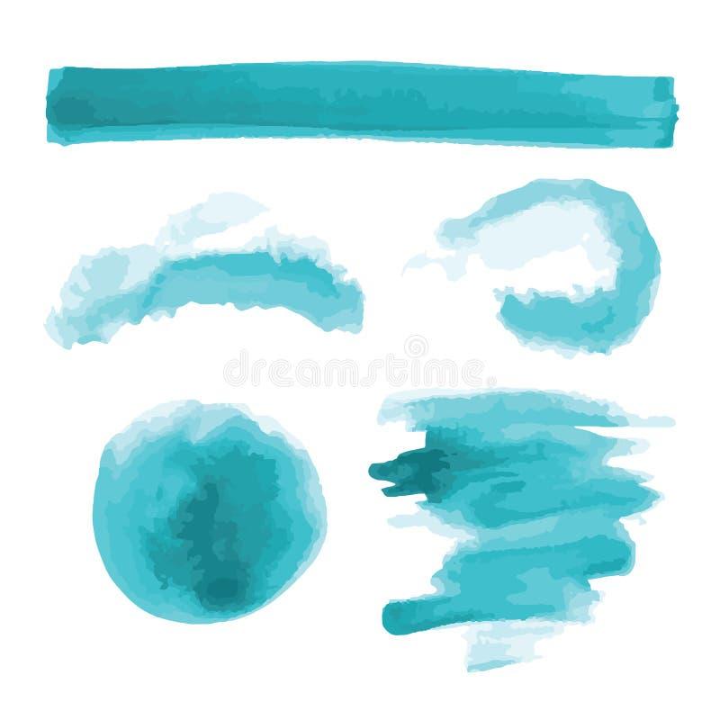 Turkus, bława akwarela kształtuje, splotches, plamy, farby muśnięcia uderzenia Abstrakcjonistyczni akwareli tekstury tła ustawiaj fotografia stock