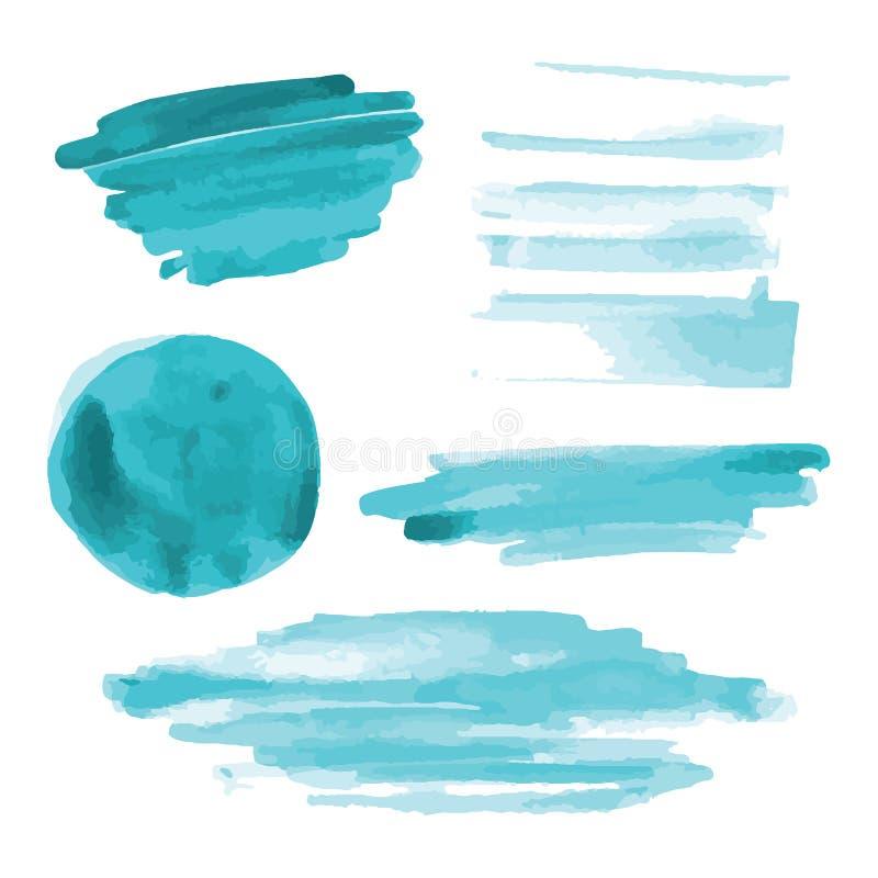 Turkus, bława akwarela kształtuje, splotches, plamy, farby muśnięcia uderzenia Abstrakcjonistyczni akwareli tekstury tła ustawiaj zdjęcie stock