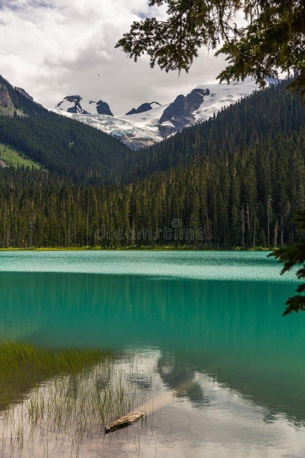 Turkus nawadnia Obniżać Joffre jezioro odbija zalesione góry obraz stock