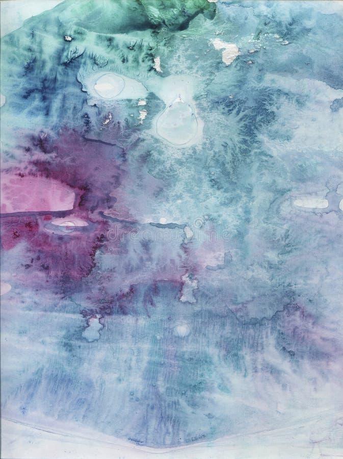 Turkusowa abstrakcjonistyczna ręka rysujący akwareli tło Obraz tekstury stylefish Gradientowi kolory Lodowy skutek ilustracja wektor