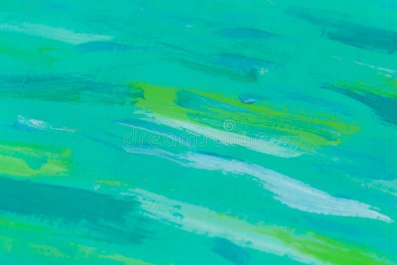 Turkusowa drewniana deska z zielonymi farb plamami jako tło, tekstura zdjęcie stock