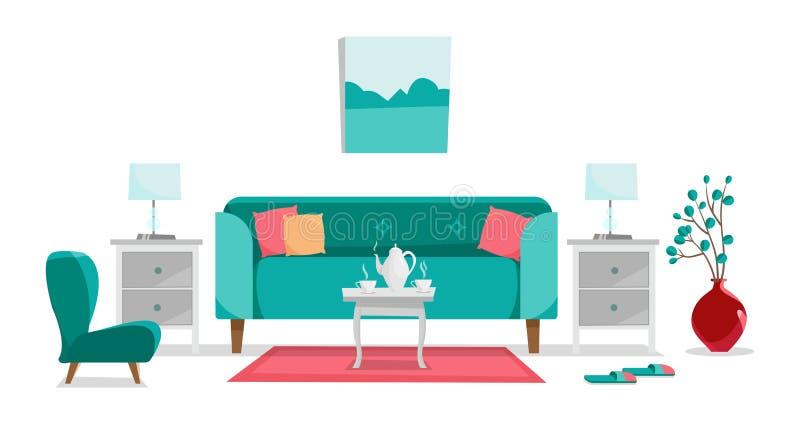 Turkusowa kanapa z stołem, wezgłowie stołami, obrazem, stołowymi lampami, wazą, dywanem, miękkim krzesłem i kapciami w żywym poko ilustracja wektor