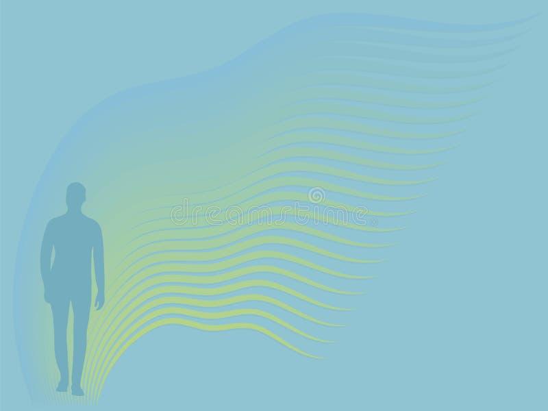 Turkusowa sylwetka mężczyzna w pełnym ciele below na tle faliści lampasy błękit i kolor żółty z gradientowym prostokątnym ve ilustracja wektor