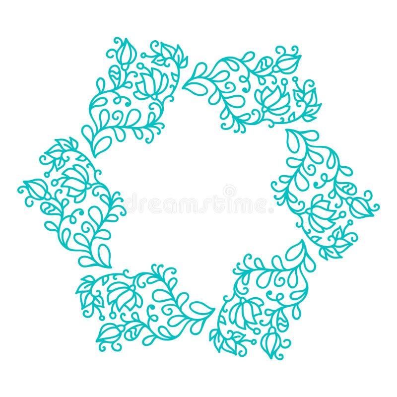 Turkusowa wektorowa monoline kaligrafii zawijasa rama dla kartki z pozdrowieniami Rocznika monograma ręka rysujący kwieciści elem royalty ilustracja