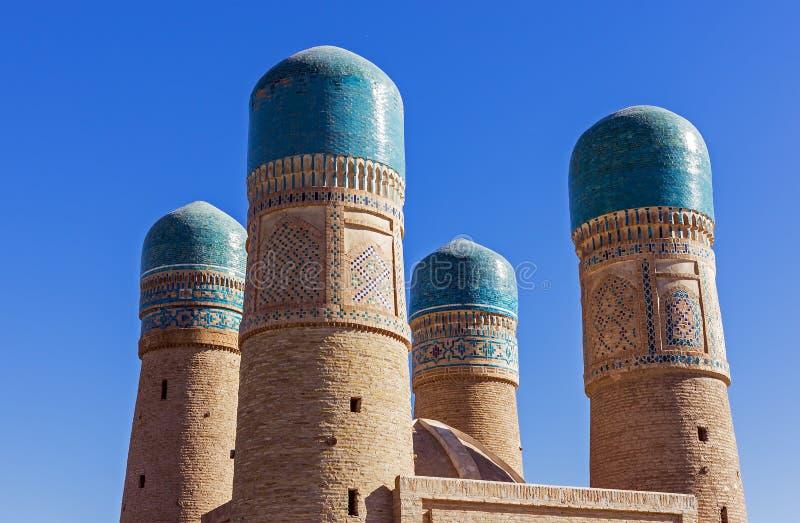 Turkusowe kopuły Chor Mniejszościowy Madrassah, Bukhara -, Uzbekistan fotografia royalty free