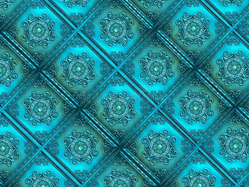 Turkusowe rocznik płytki, tekstura, tło obrazy stock