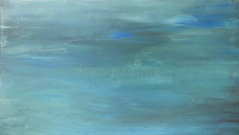 Turkusowego błękita abstrakcjonistyczna akrylowa ręka malujący tło obraz stock