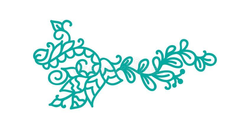 Turkusowego monoline scandinavian zawijas Wektorowy monograma rocznik z liśćmi i kwiatami Kąty i dividers dla royalty ilustracja