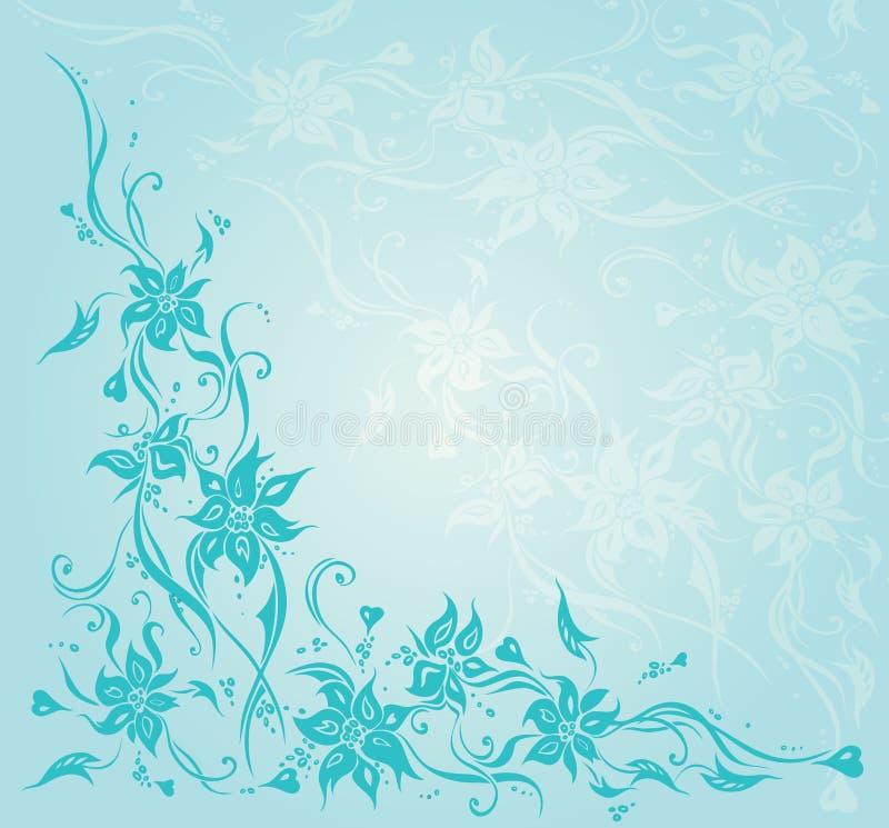 Turkusowego rocznika kwiecistego zaproszenia tła ślubny projekt ilustracja wektor