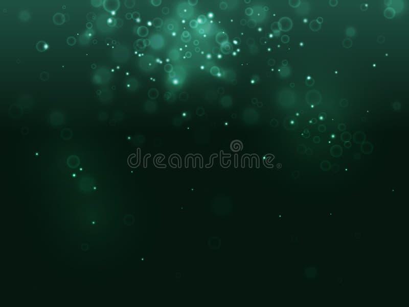 Turkusowy abstrakta światła biotechnologii tło i iskra na czerni Jak bąbel, drobnoustrój, komórka, bakterie, odporne ilustracja wektor