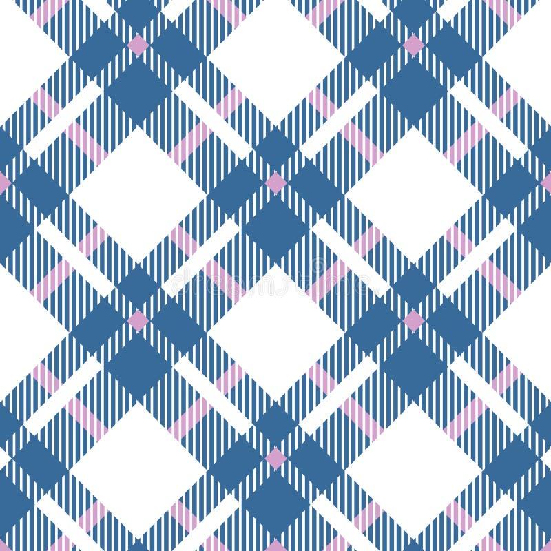 Turkusowy błękit, czerwień i biel, barwimy tartanu bezszwowego wzór W kratkę szkockiej kraty tekstura Geometrical prosty kwadrato ilustracji