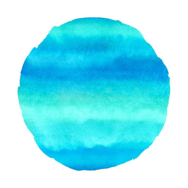 Turkusowy błękit, zielony akwareli round tło ilustracji