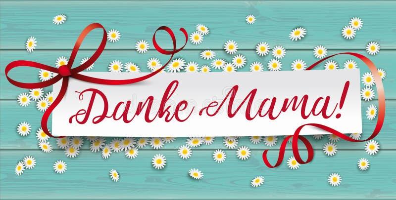 Turkusowy Drewniany stokrotka papieru sztandaru Danke Mama ilustracja wektor