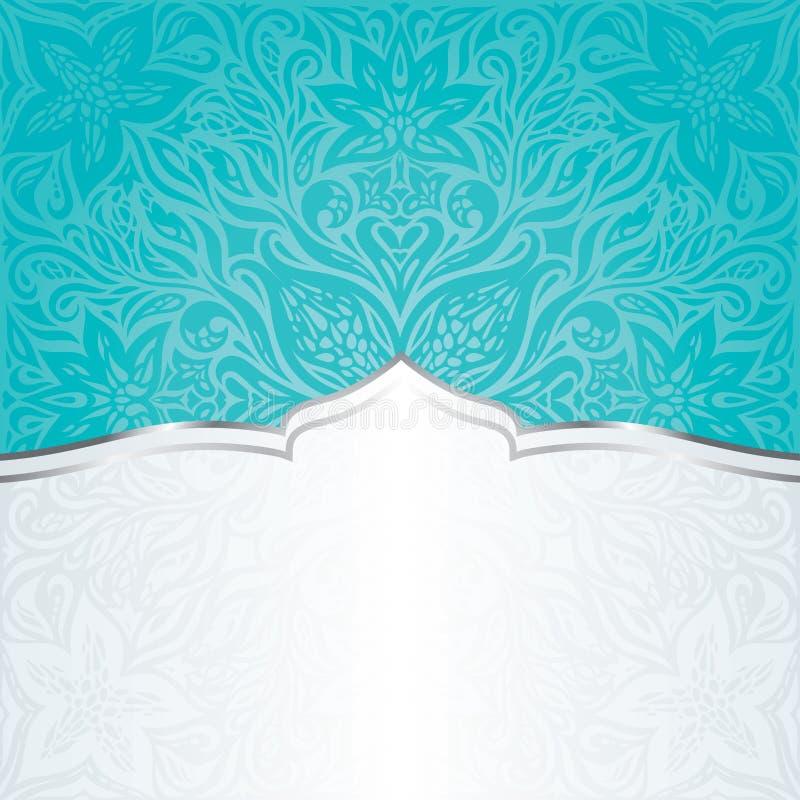 Turkusu rocznika zaproszenia tła mandala zielony błękitny kwiecisty projekt ilustracja wektor