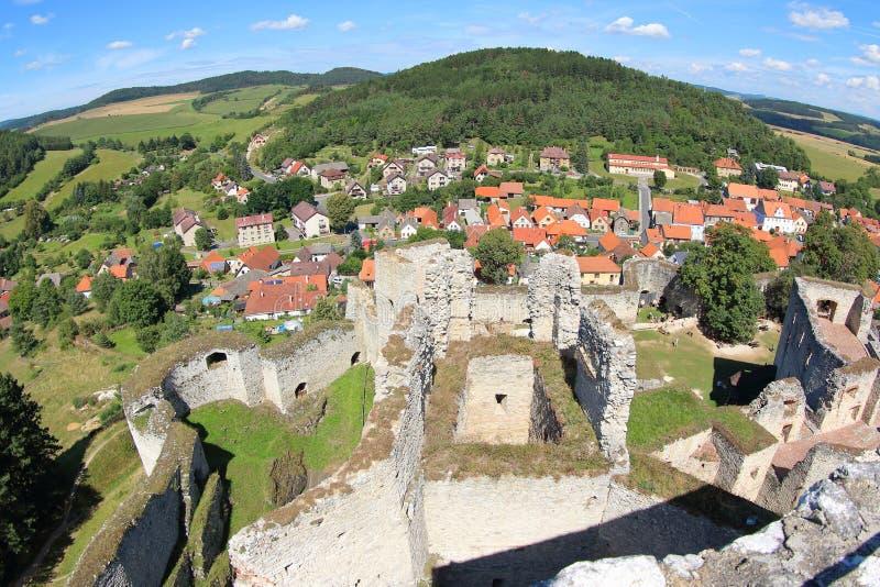 Turm-Ansicht von Rabi Castle, Tschechische Republik stockbild