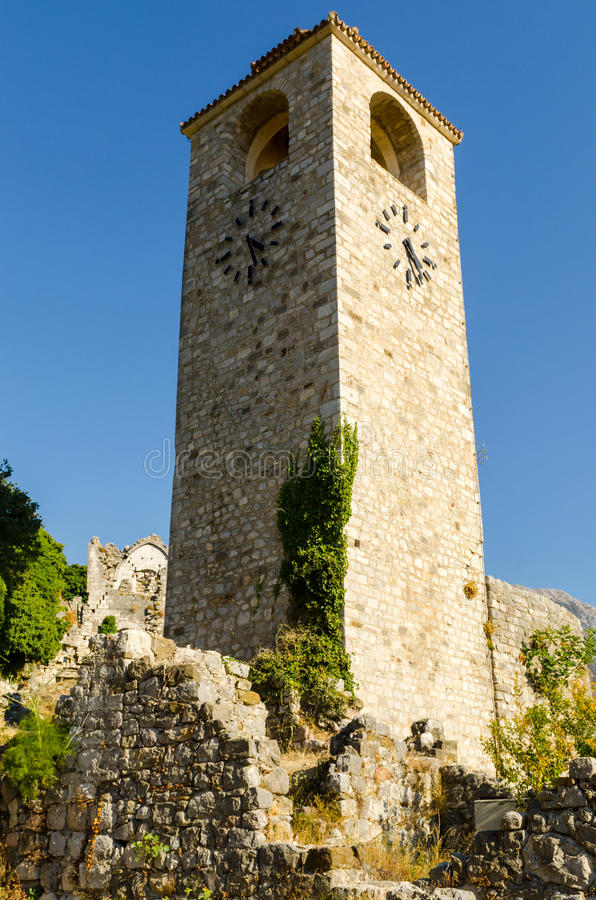 Turm an der alten Stange, Montenegro lizenzfreies stockbild