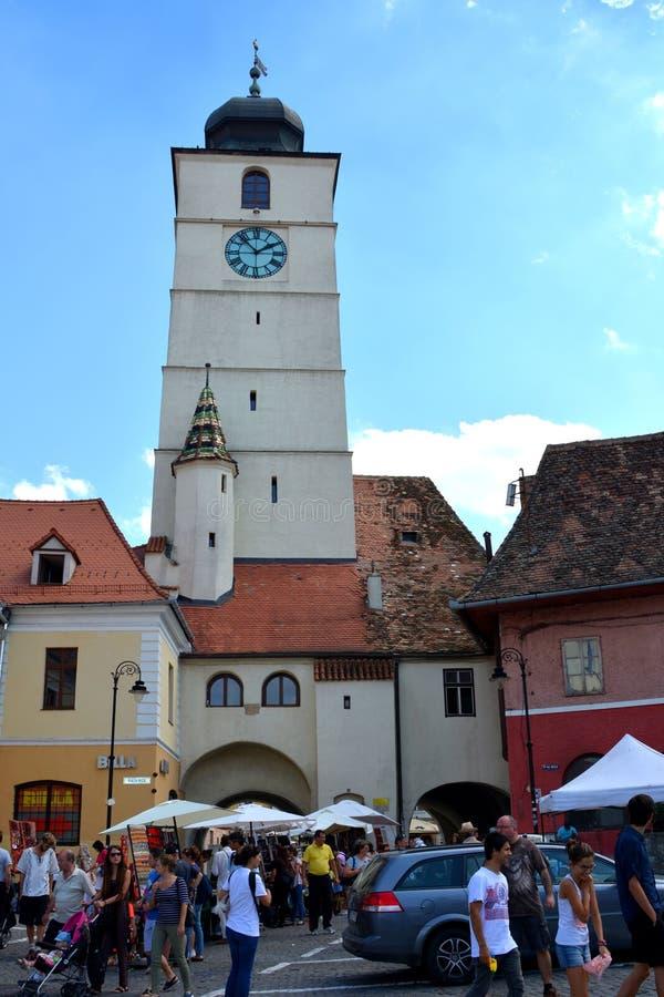 Turm der Festung der Stadt Sibiu, Siebenbürgen lizenzfreie stockbilder