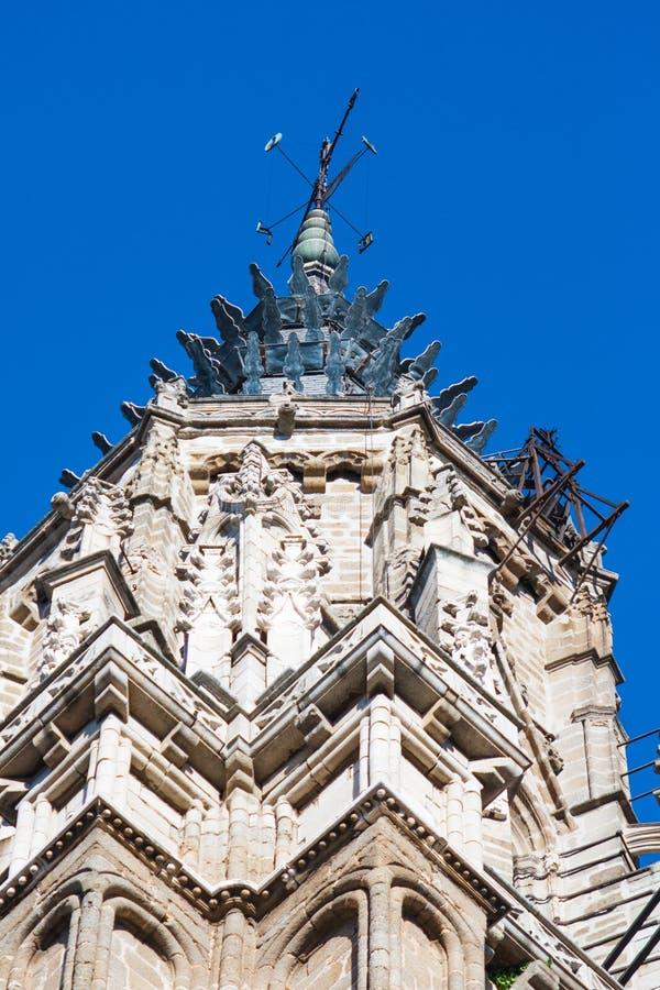 Turm der Kathedrale von Toledo, gotische Art stockfotos