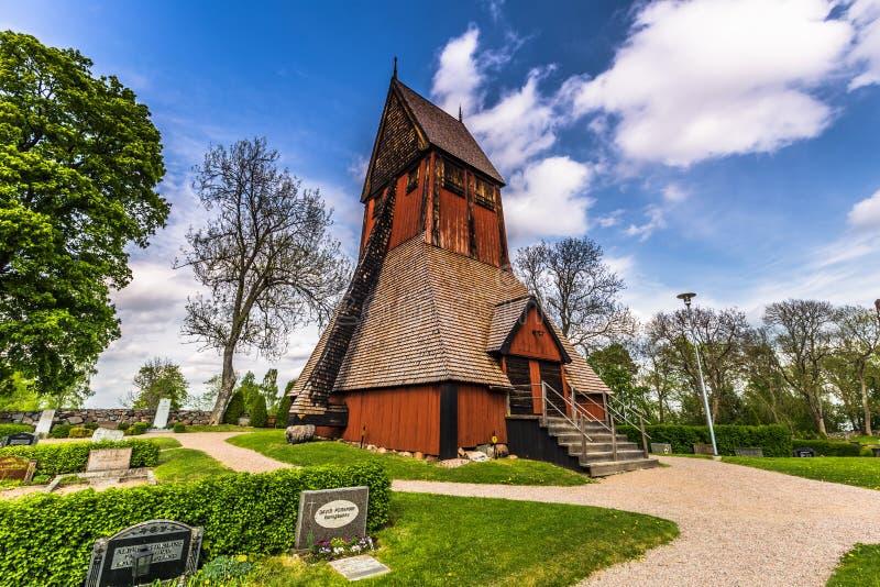 Turm der Kirche von Gamla Uppsala, Schweden stockfotografie