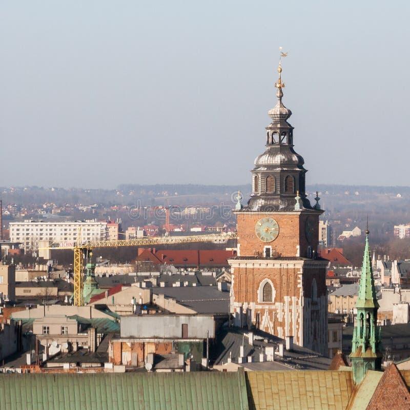Turm der Kirche von St Mary in Krakau gesehen vom Fenster der zygmunt Glocke stockfoto