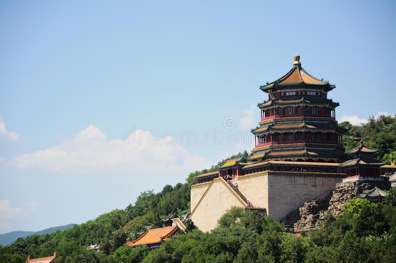 Turm des buddhistischen Weihrauchs Foxiangge Langlebigkeits-Hügel Wanshoushan Kunming See Kunminghu Sommer-Palast Peking Yiheyuan lizenzfreies stockfoto
