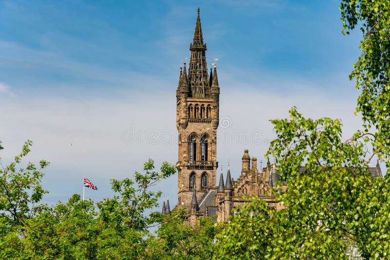 Turm des Glasgow University-Gebäudes lizenzfreies stockbild