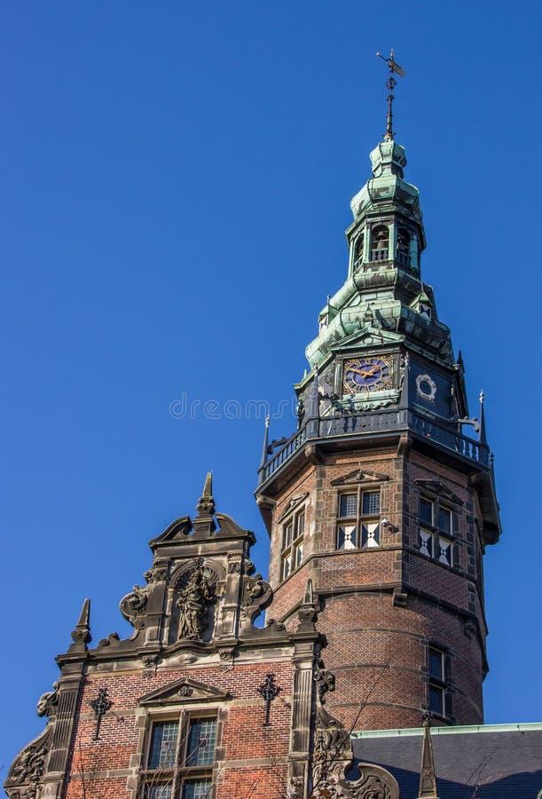 Turm des Hauptgebäudes der Universität von Groningen stockfoto