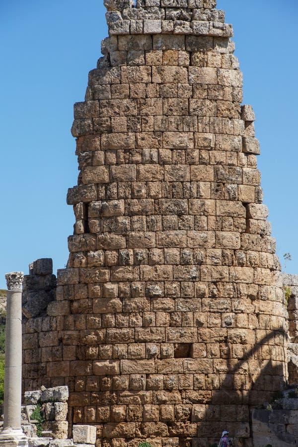 Turm des Hellenistic Tors in der altgriechischen Stadt von pro lizenzfreies stockfoto