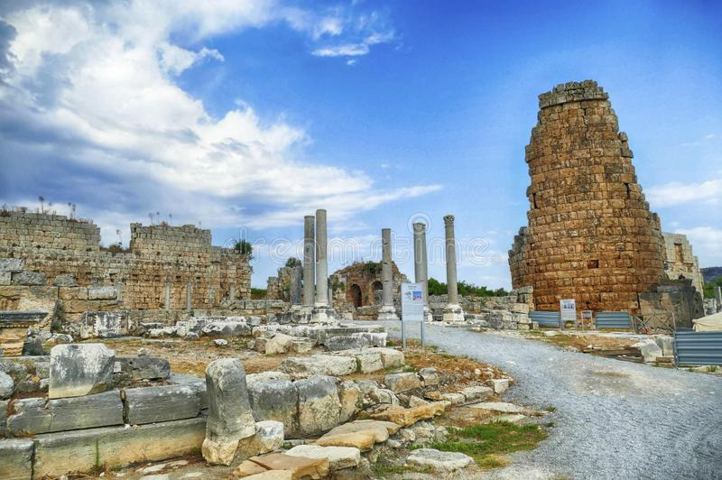 Turm des hellenistischen Tors von Perge stockbild